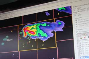 radar image on storm chaser laptop